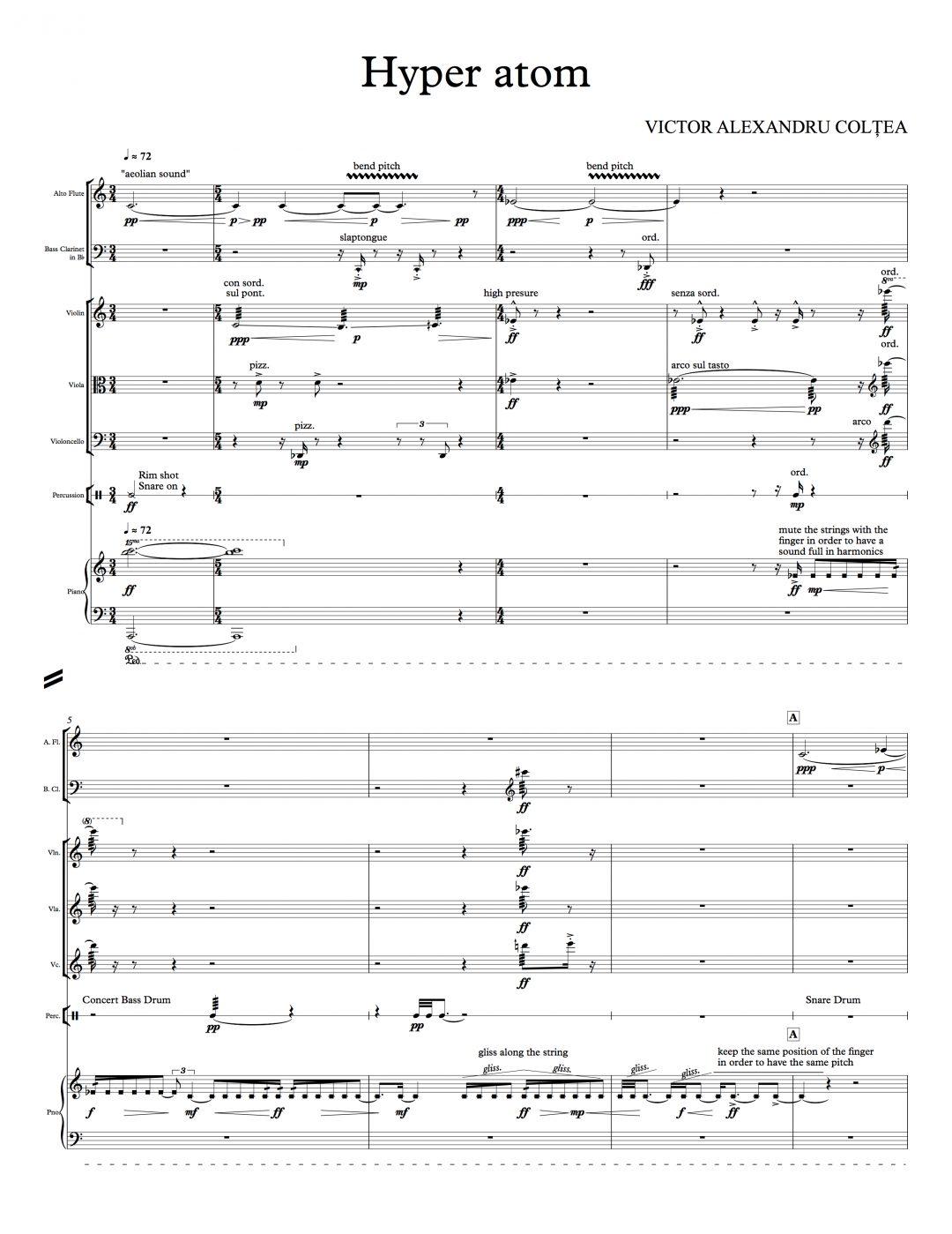 Victor Coltea - Hyper Atom - for ensemble - Full Score